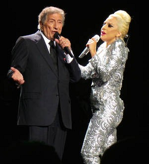 Lady Gaga and Tony Bennett performing at Hillary Clinton fundraiser