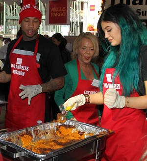 Tyga and Kylie Jenner serve up food for the homeless